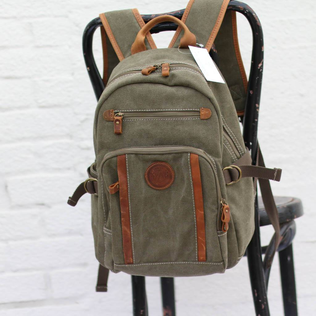 bf8f63c8a9 Kattee Vintage Canvas Leather Hiking Travel Backpack