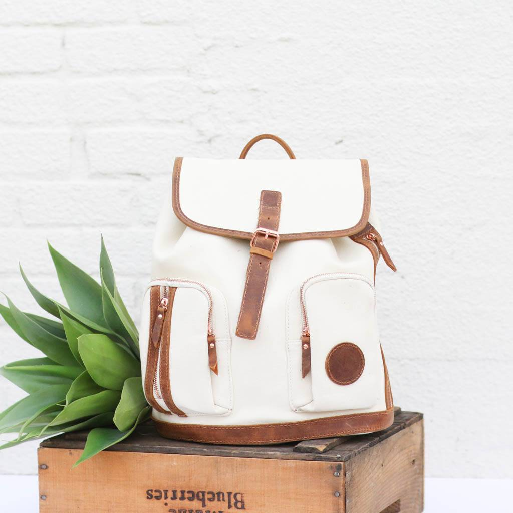 Women's Canvas & Leather Backpack