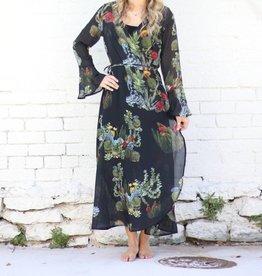 Black Cactus and Succulent Print Wrap Dress