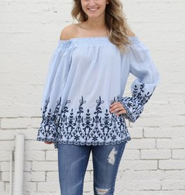Embroidered Stripe Off the Shoulder Top