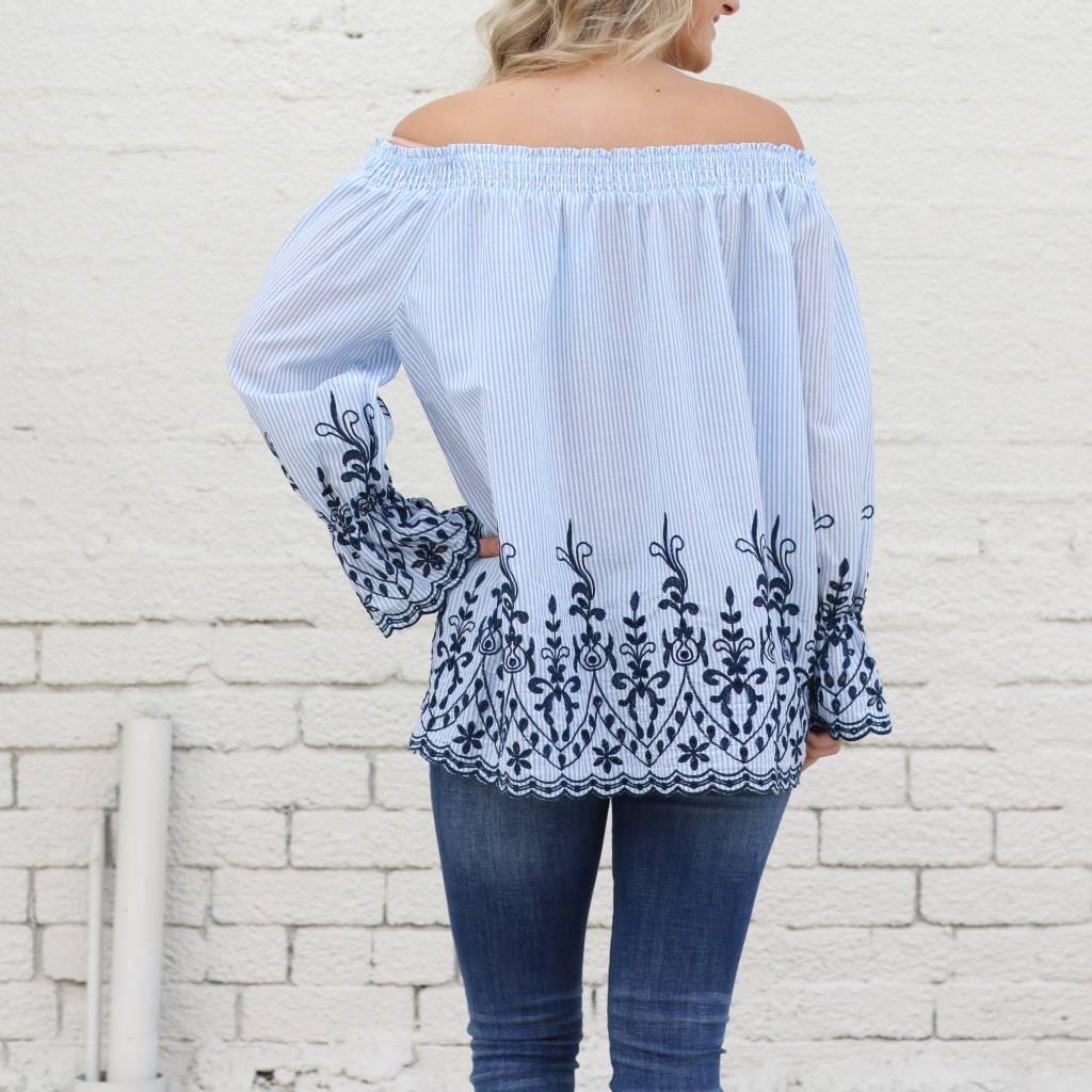 Embroidered Stripe Off the Shoulder Top