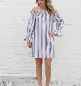 Multi Pinstripe Ruffle Dress