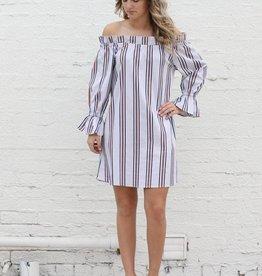 Multi Pinstripe Ruffle Dress