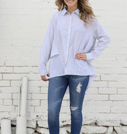 Oversized Black and White Striped Button Down