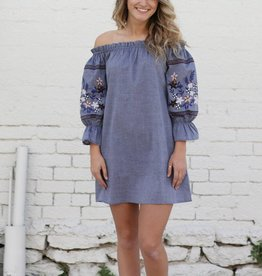Tencel Off The Shoulder Dress with Embroidered Sleeve