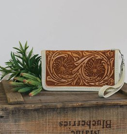 Natural Daisy Tooled Leather Zipper Wallet