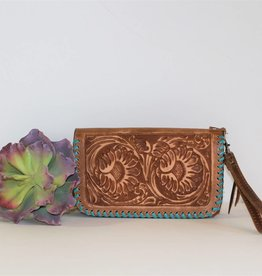 Pecan Vintage Sunflower Tooled Leather Clutch Organizer Wallet