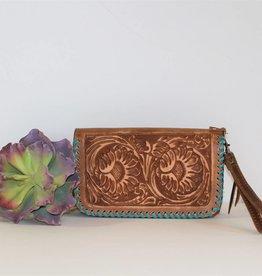 Pecan Vintage Sunflower Tooled Leather Clutch Organizer Wallet