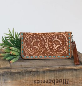 Pecan Vintage Sunflower Tooled Leather Zipper Wallet