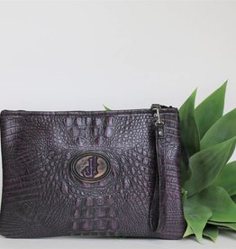 Purple Gator Medium Clutch Purse