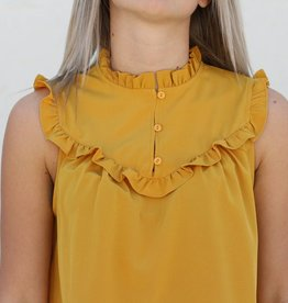 Mustard Sleeveless Ruffle Top
