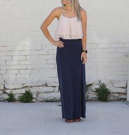 Colorblock Ruffle Maxi Dress