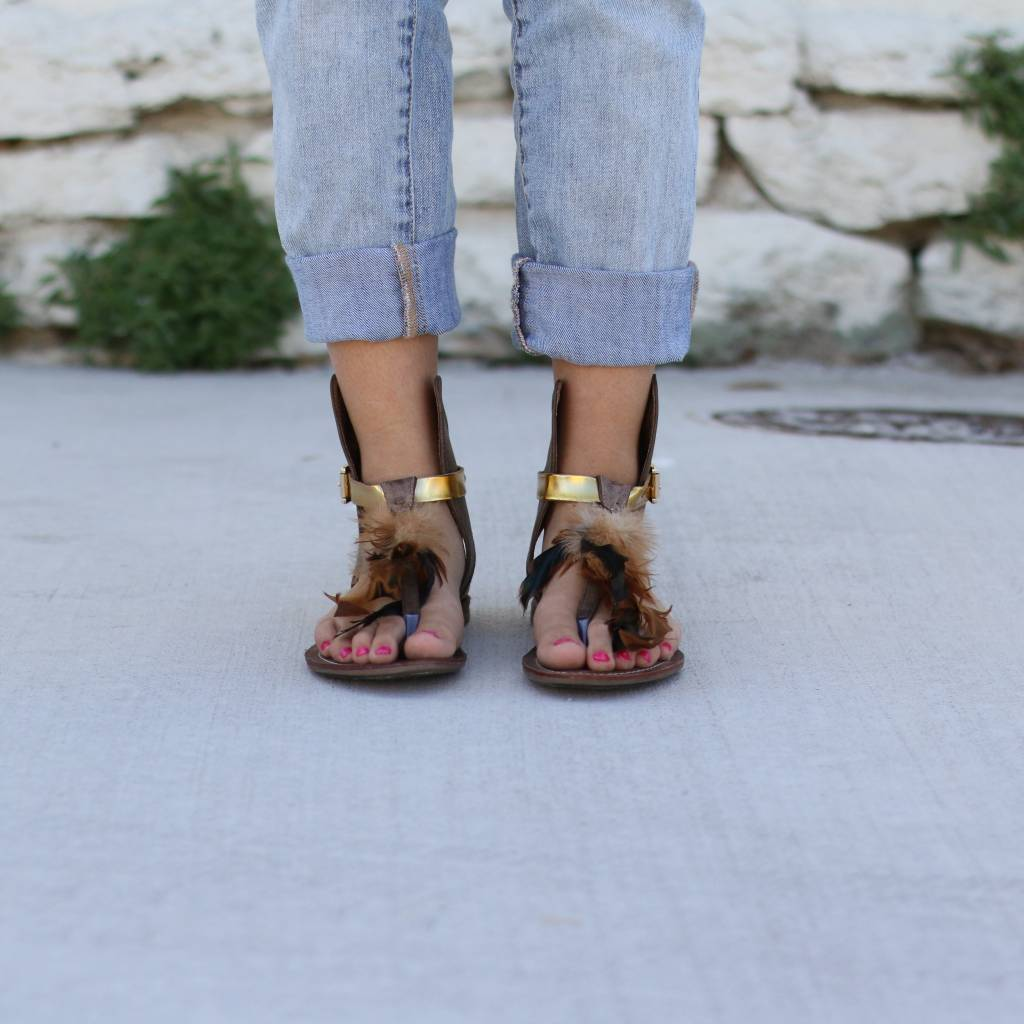 Brown Leather Boho Sandal with Feathers