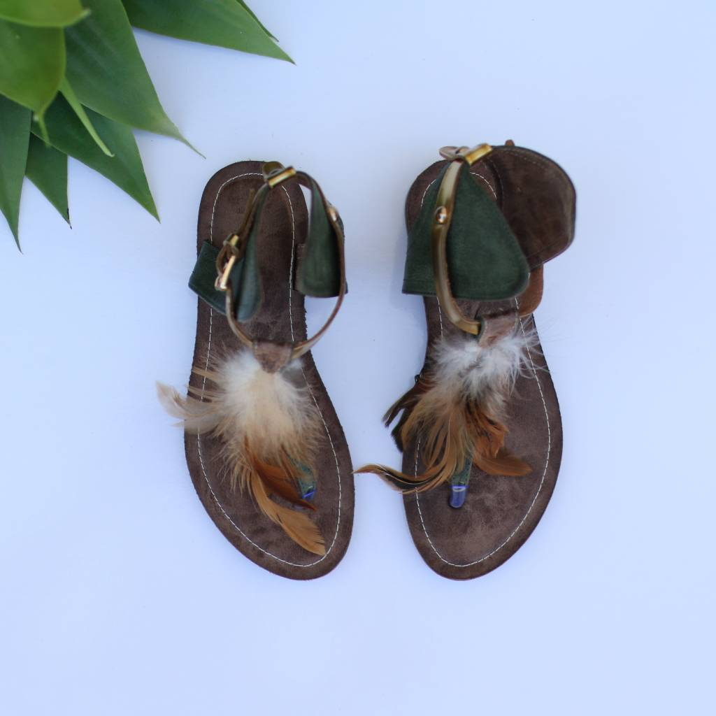Green Leather Boho Sandal with Feathers