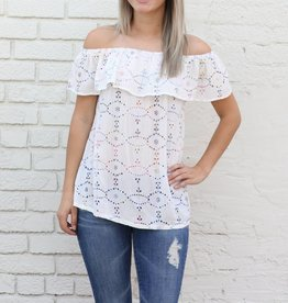 Multi Color Embroidered Eyelet Off the Shoulder Top