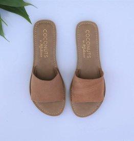 Tan Suede Leather Slide Sandal