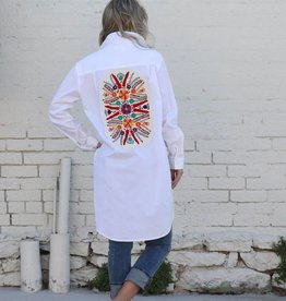 White Cotton Button Down with Embroidered Patch