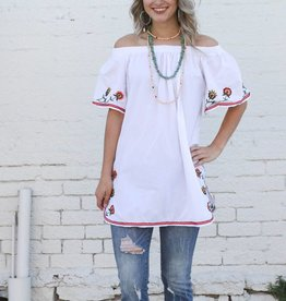 Embroidered Off the Shoulder Tunic Blouse