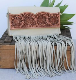 Natural Daisy Tooled Leather Clutch Crossbody