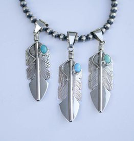 CC Oval Turquoise Feather Pendant