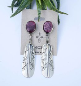 Amethyst Feather Post Earring