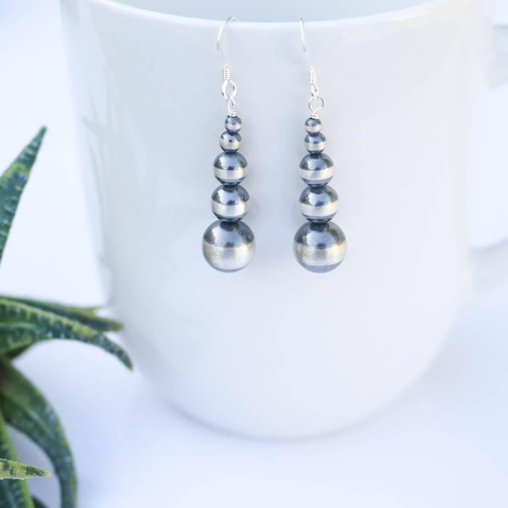 Cascading Linear Navajo Pearl Earrings