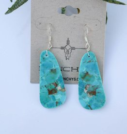 1 1/2in Blue Kingman Compressed Turquoise Earrings