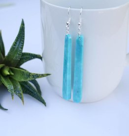 2 3/4'' Bar Compressed Turquoise Earrings