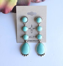 Campetos Turquoise Tiered Post Earring