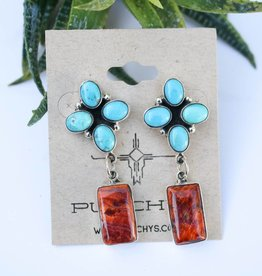 Quad Turquoise and Spiny Oyster Earrings