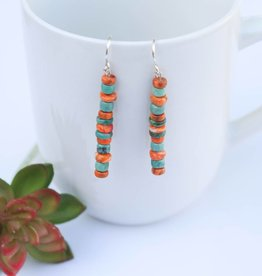 2in Spiny Oyster and Mexican Turquoise Linear Earring