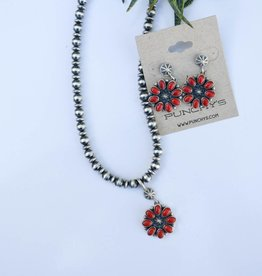 Punchy's Coral Flower Pendant Necklace and Earring Set