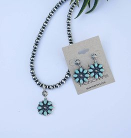 Campetos Flower Pendant Necklace and Earring Set