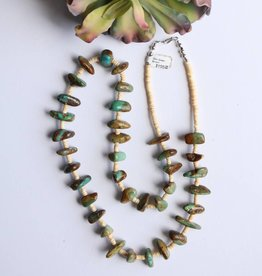 35in Green Brown Turquoise & Melon Shell Necklace