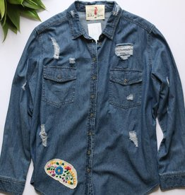 Distressed Denim Button Down with Embroidered Patches