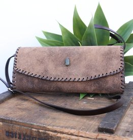 Punchy's Adobe Cognac with Turquoise Stone Clutch