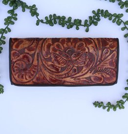 Brown Tooled Leather Clutch Wallet