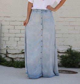 Light Denim Tencel Maxi Skirt