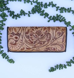 Saddle Tan Tooled Clutch Wallet