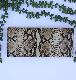 Snake Brown Leather Clutch Wallet