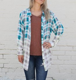 Turquoise Bleached Ombre Plaid Longsleeve