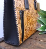 Tan Tooled Leather Concealed Carry Tote