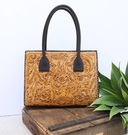 Punchy's Tan Tooled Leather Concealed Carry Tote
