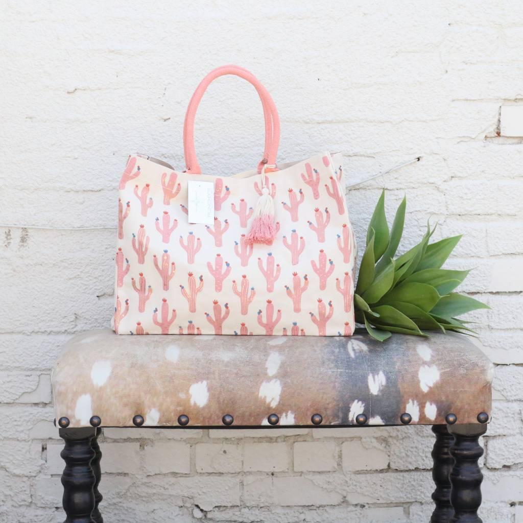 Metallic Cactus Print Tote Bag