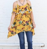 Mustard Floral Cold Shoulder Top