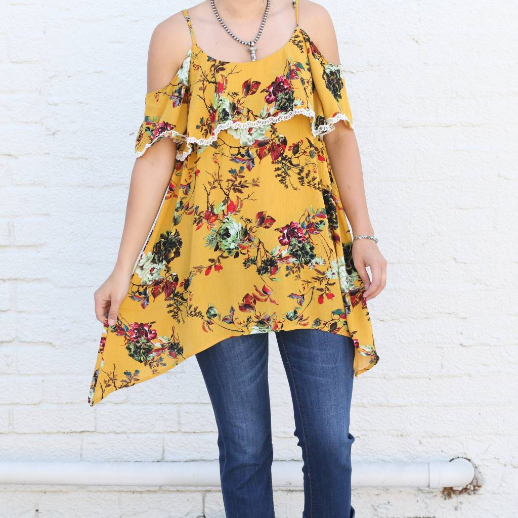Mustard Floral Cold Shoulder Top