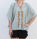 Sage Embroidered Dolman Sleeve Blouse