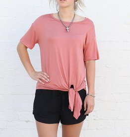 Scoop Neck Front Tie Tee
