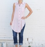 Striped Sleeveless Button Up Tunic