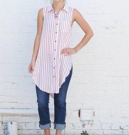 Striped Sleeveless Button Up Tunic